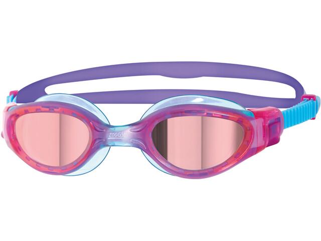 Zoggs Phantom Elite Mirror Okulary pływackie Dzieci, pink/purple/mirror